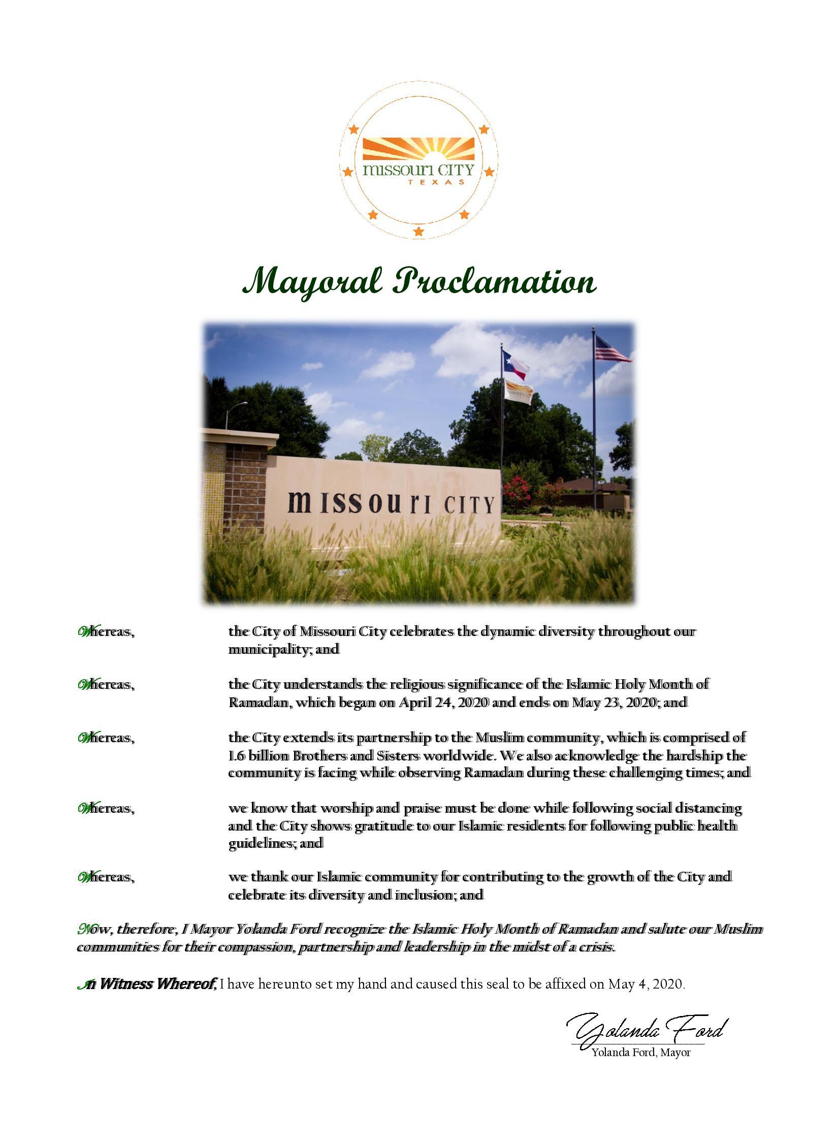 Missouri City Mayoral Proclamation for Ramadan 2020